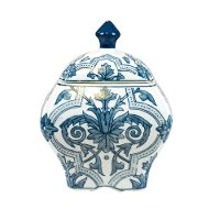 10 Inch Blue and White Covered Jar