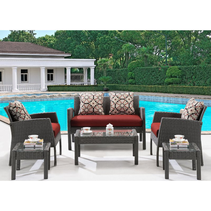 Red 6 Piece Outdoor Patio Furniture Set - Chelsea