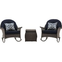 SMAR-3PC-NVY Outdoor 3 Piece Rocking Chat Set - San Marino