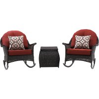 SMAR-3PC-RED 3 Piece Rocking Outdoor Patio Furniture Set - San Marino