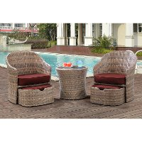 SEN-5PC-RED Outdoor 5 Piece Chat Set - Seneca