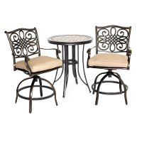 MONDN3PCSW-BR Outdoor 3 Piece High Dining Bistro Set - Monaco