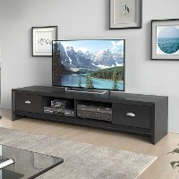 Black Wood Grain Extra Wide TV Stand - Lakewood