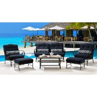 OCEANA6PC-TL-NVY Outdoor Navy 6 Piece Patio Set W/Coffee Table - Oceana