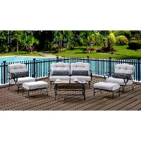 OCEANA6PC-TL-SLV Outdoor Silver 6 Piece Patio Set W/Coffee Table - Oceana
