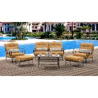 OCEANA6PC-TL-TAN Outdoor Cork 6 Piece Patio Set With Coffee Table - Oceana
