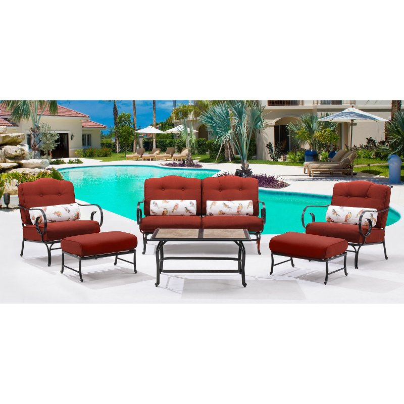 Outdoor Red 6 Piece Patio Set W/ Coffee Table - Oceana