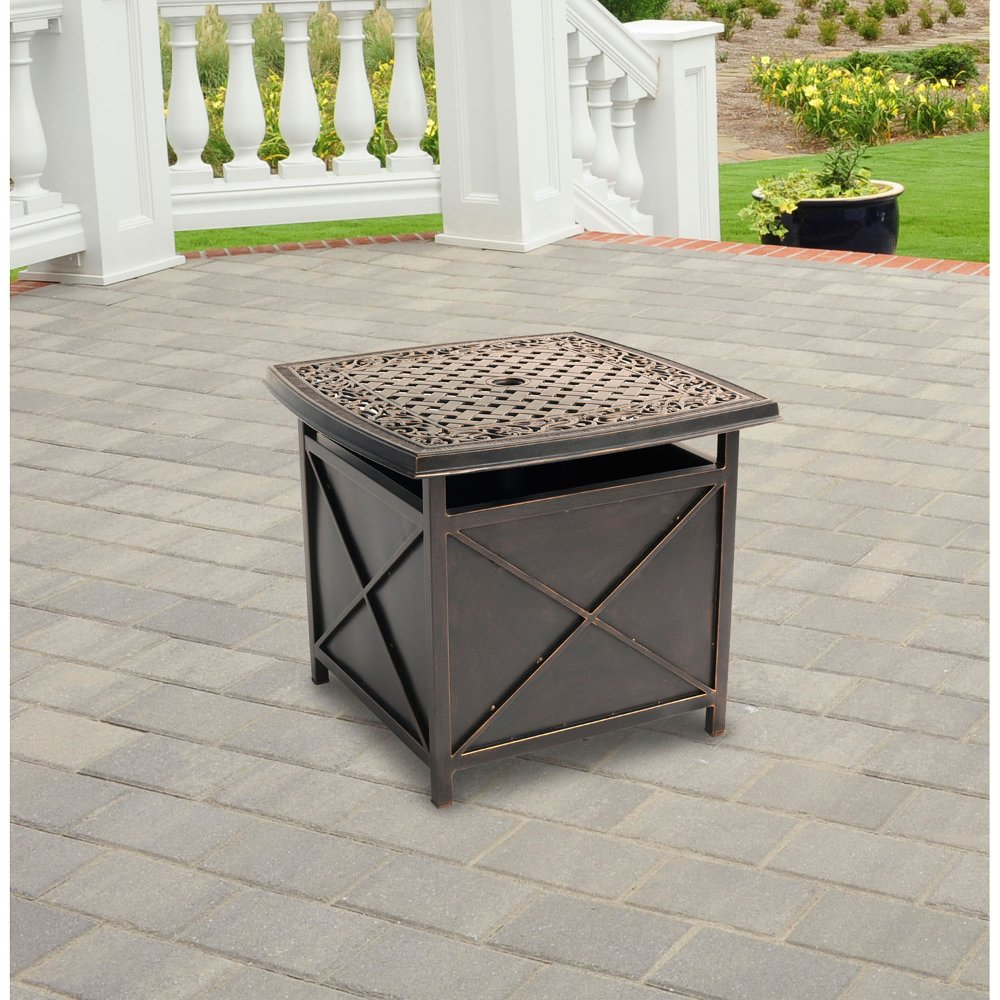 ... TRADUMBTBL Hanover Outdoor Traditions Cast Top Side Table And Umbrella  Stand ...