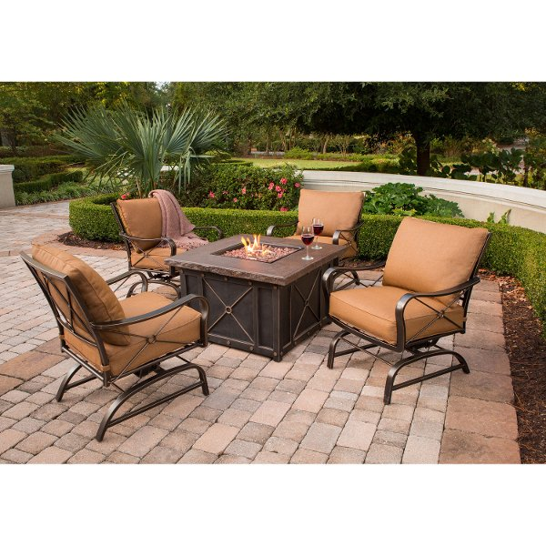 SUMMRNGHT5PC Brown 5 Piece Outdoor Fire Pit Set - Summer Nights - Patio Furniture, Outdoor Furniture & Patio Table Searching Hanover