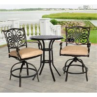 TRADDN3PCSW-BR Outdoor 3 Piece High Dining Bistro Set - Traditions