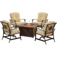 SUMMRNGHT5PCTAN Outdoor 5 Piece Fire Pit Patio Set -  Summer Nights