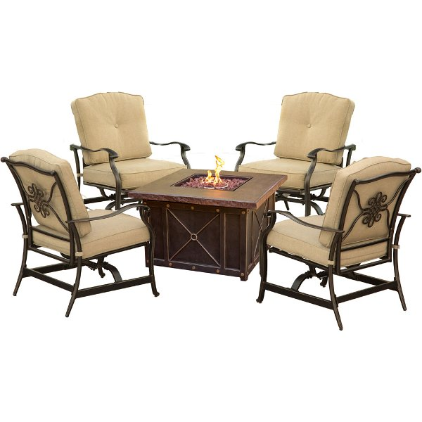 ... SUMMRNGHT5PCTAN Outdoor 5 Piece Fire Pit Patio Set   Summer Nights ...