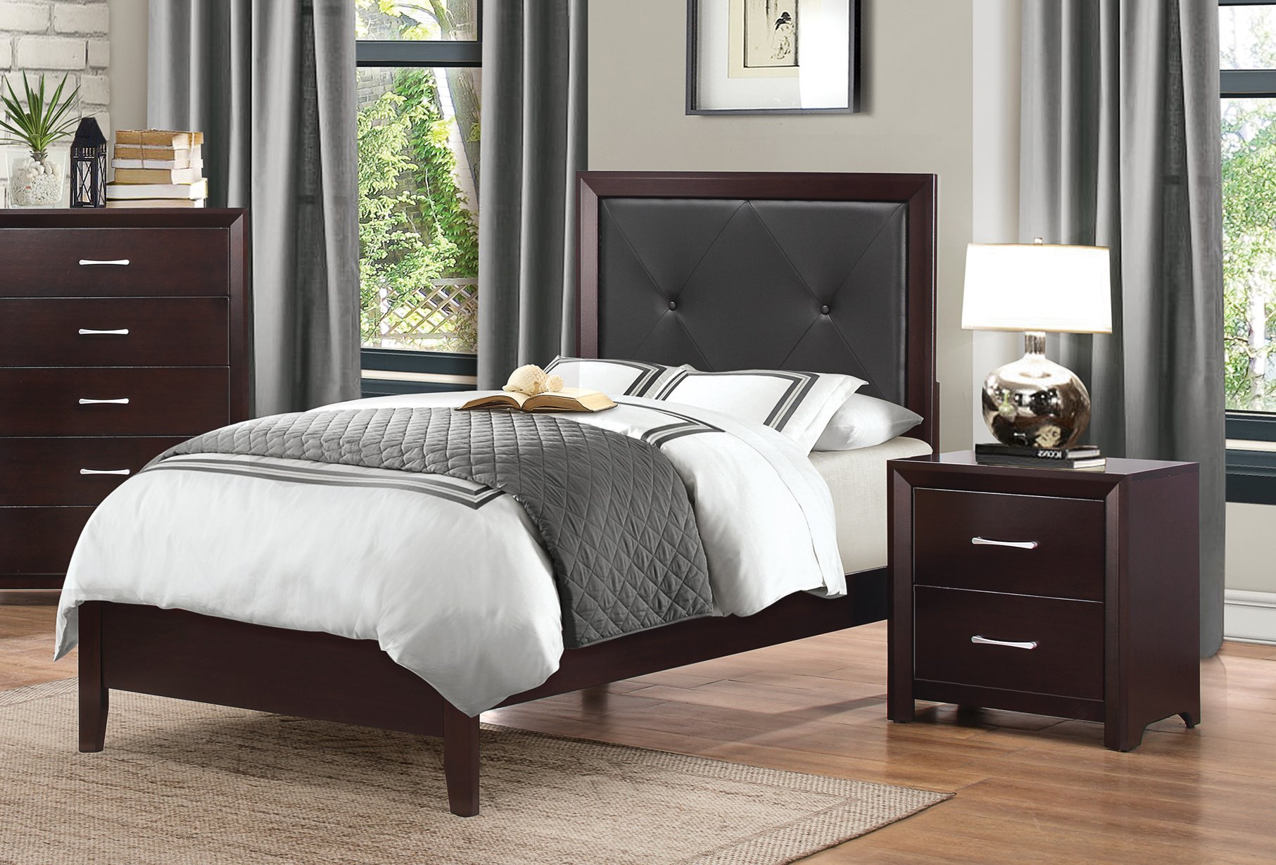 Espresso Twin Upholstered Bed   Edina Collection