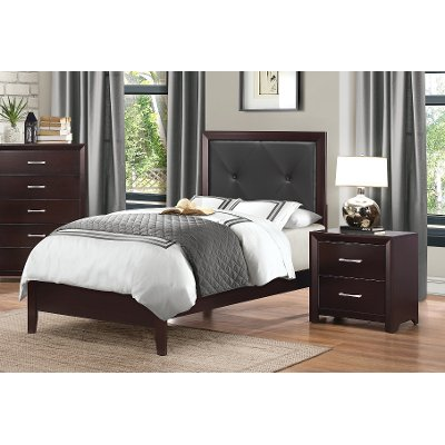 Espresso Twin Upholstered Bed - Edina Collection