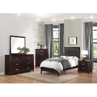 Contemporary Espresso 6 Piece Twin Bedroom Set - Edina