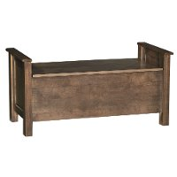 Driftwood Brown Classic Storage Bench - Amish