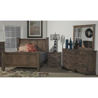 Driftwood Brown Classic 6 Piece California King Bedroom Set - Amish
