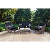 VENTURA4PC-NVY Brown and Navy 4 Piece Outdoor Patio Furniture Set - Ventura
