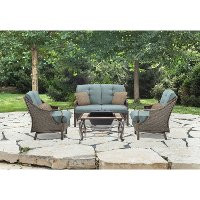 VENTURA4PCFP-BLU 4 Piece Teal Outdoor Fire Pit Set - Ventura