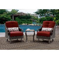 VENTURA3PC-RED Outdoor 3 Piece Patio Set - Ventura