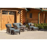 STRATHMERE6PCBLU 6 Piece Ocean Blue Outdoor Patio Lounge Set - Strathmere