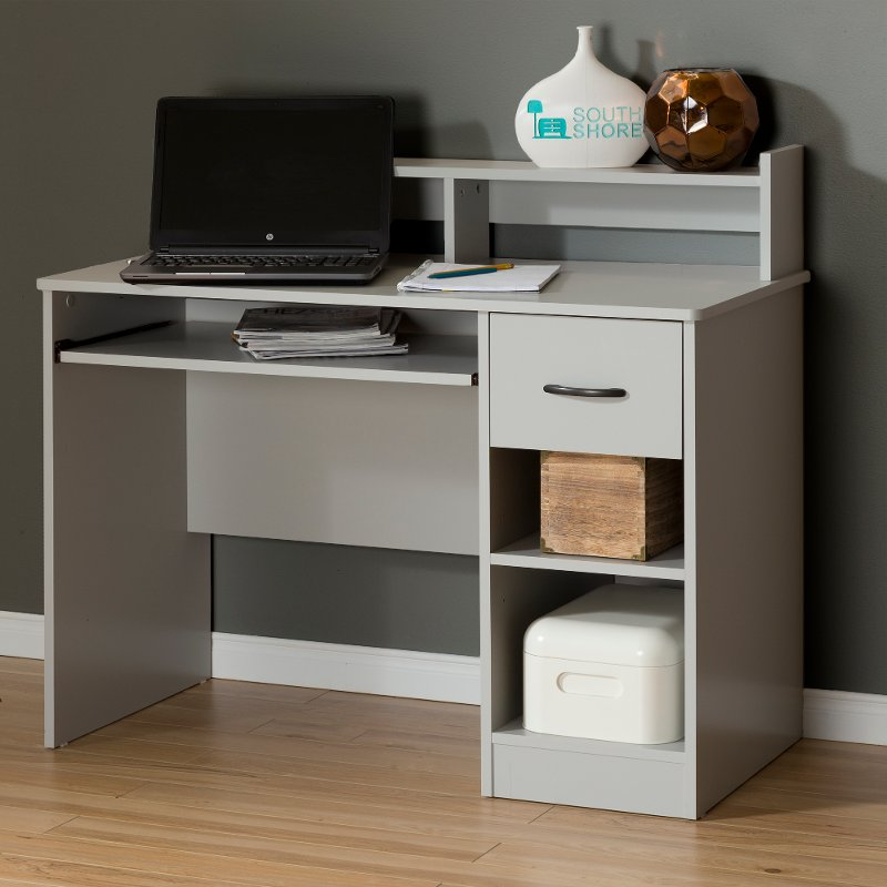 10138 Soft Gray Desk With Keyboard Tray As