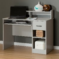 10138 Soft Gray Desk With Keyboard Tray - Axess