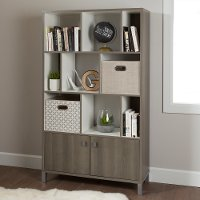 10170 Gray Maple 9-Cube Storage Bookcase - Expoz