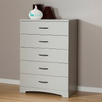 10106  Soft Gray Five Drawer Chest of Drawers - Step One