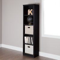 10139 Black Oak Narrow 5 Shelf Bookcase - Morgan