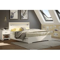 10158 White Queen Platform Bed with 2 Drawers (60 Inch) - Basic