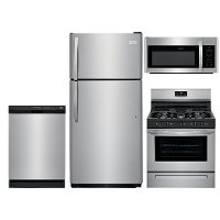 SS-4PC-GAS-PACKAGE Frigidaire 4 Piece Gas Kitchen Appliance Package with 18 Cu. Ft. Refrigerator - Stainless Steel