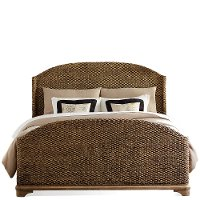 Pecan Brown Woven Casual Classic Queen Bed - Sherborne