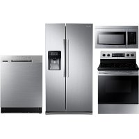 KIT Samsung 4 Piece Electric Kitchen Appliance Package with Side by Side Refrigerator - Stainless Steel