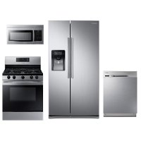 KIT Samsung 4 Piece Gas Kitchen Appliance Package with Side by Side Refrigerator - Stainless Steel