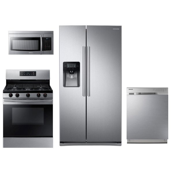 kit samsung 4 piece kitchen appliance package with gas range stainless steel - Best Rated Kitchen Appliance Packages
