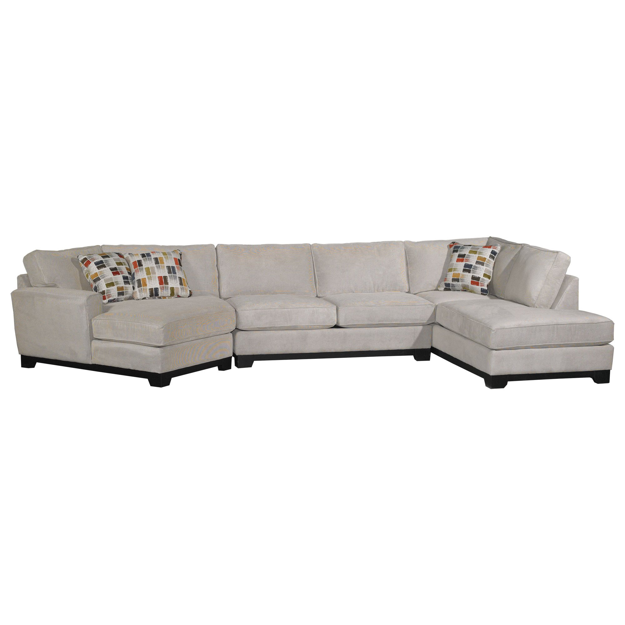 hemp white casual 3piece upholstered sectional