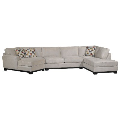 White Casual Contemporary 3 Piece Upholstered Sectional   Pisces
