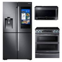 KIT Samsung 3 Piece Kitchen Appliance Package with Electric Range - Black Stainless Steel