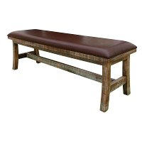 Brown Rustic Bench with Upholstered Seat - Antique