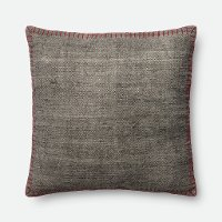 P0435MH Magnolia Home Furniture Gray Throw Pillow with Red Stitching
