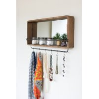 Rectangular Wooden Mirror with Hooks