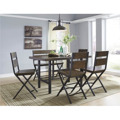 6 piece dining set reclaimed wood and metal counter height - Metal Dining Room Chairs