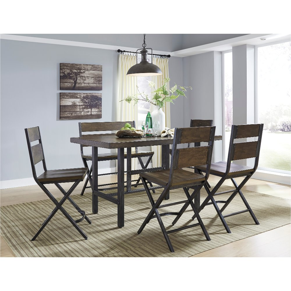 Reclaimed Wood and Metal 6 Piece Counter Height Dining Set   Kavara   RC  Willey Furniture Store. Reclaimed Wood and Metal 6 Piece Counter Height Dining Set