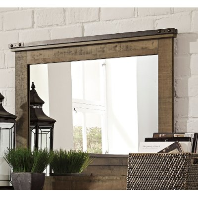 Contemporary Rustic Oak Mirror - Trinell