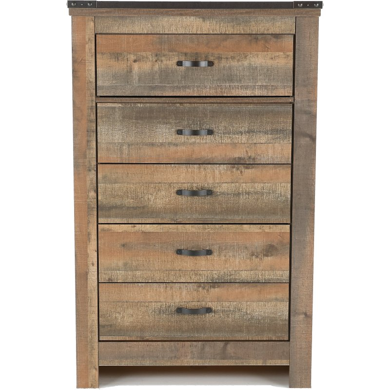 Contemporary Rustic Oak Chest Of Drawers Trinell