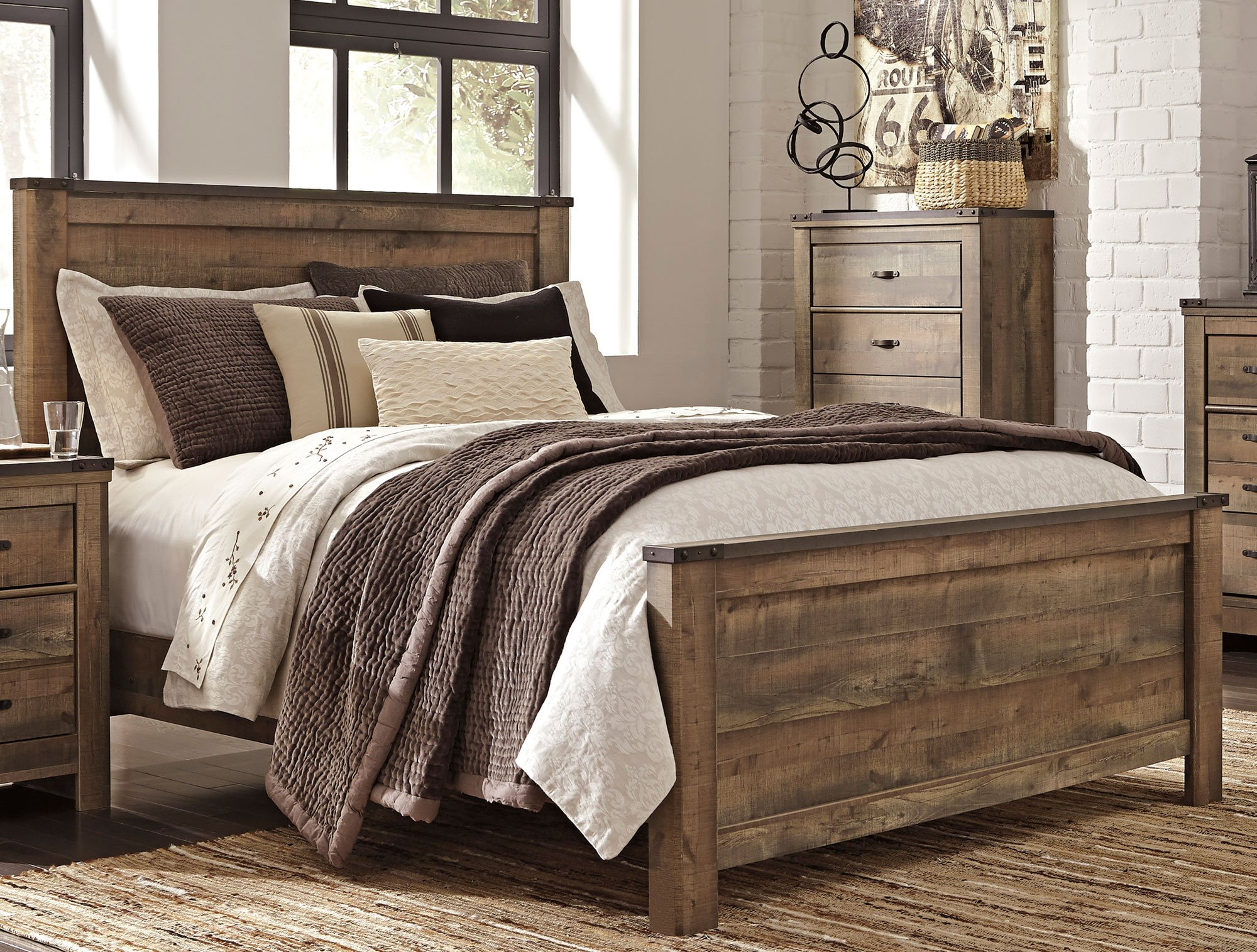 Rustic casual contemporary 6 piece queen bedroom set - Queen size bedroom furniture sets ...