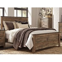 Contemporary Rustic Oak King Size Bed - Trinell