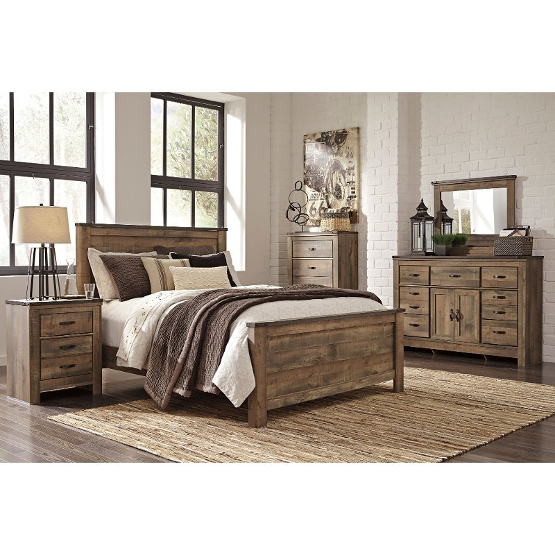 Contemporary Rustic Oak 4 Piece King Bedroom Set - Trinell