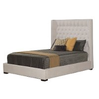 Cream White Contemporary Classic Wing Upholstered Queen Size Bed - Carly